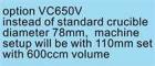 Zubehör VC 650V: Option für Tiegel 600cm³