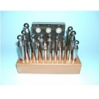 Kugelpunzen-Set 2-20 mm auf Holzbrett