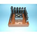 Kugelpunzen-Set 2-55 mm auf Holzbrett